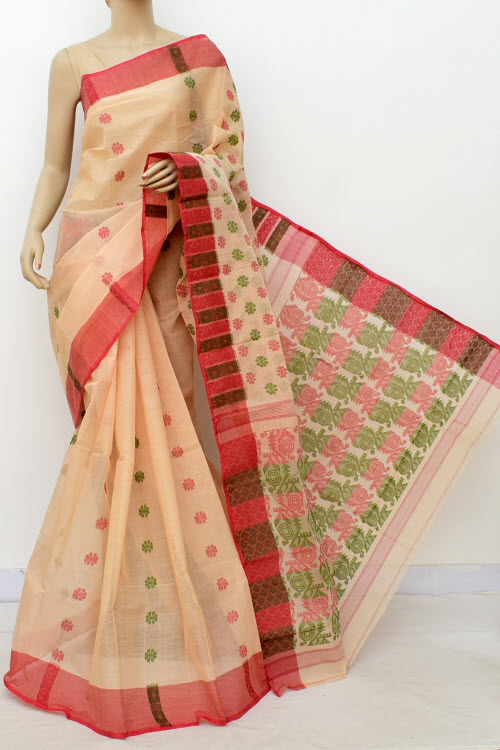 Biege Colour Handwoven Bengal Handloom Cotton Saree (without Blouse) 16983