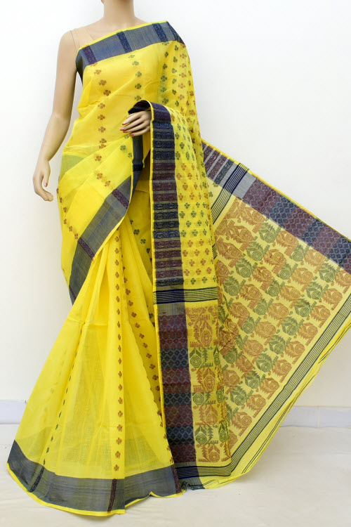 Yellow Colour Handwoven Bengal Handloom Blockprint Cotton Saree (without Blouse) 16986
