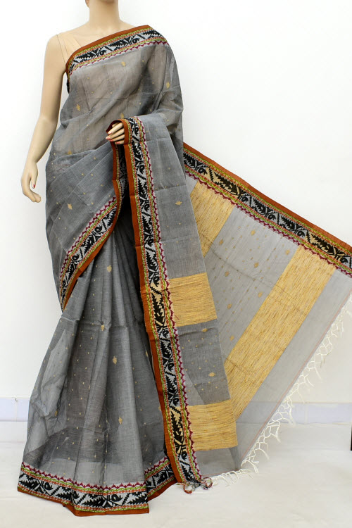 Grey Colour Handwoven Bengal Handloom Cotton Saree (Without Blouse) 17086