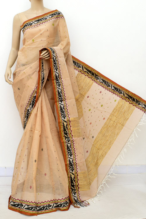 Biege Colour Handwoven Bengal Handloom Cotton Saree (Without Blouse) 17087