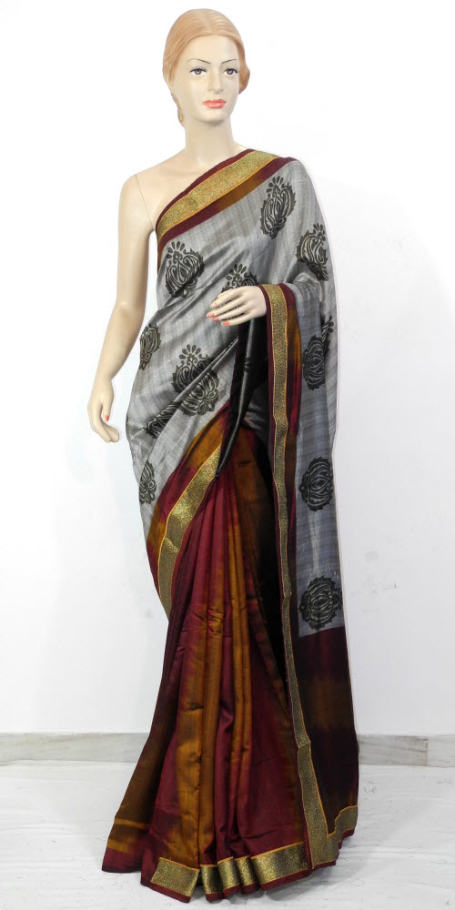 Exclusive Half-Half Art Silk Saree 11311