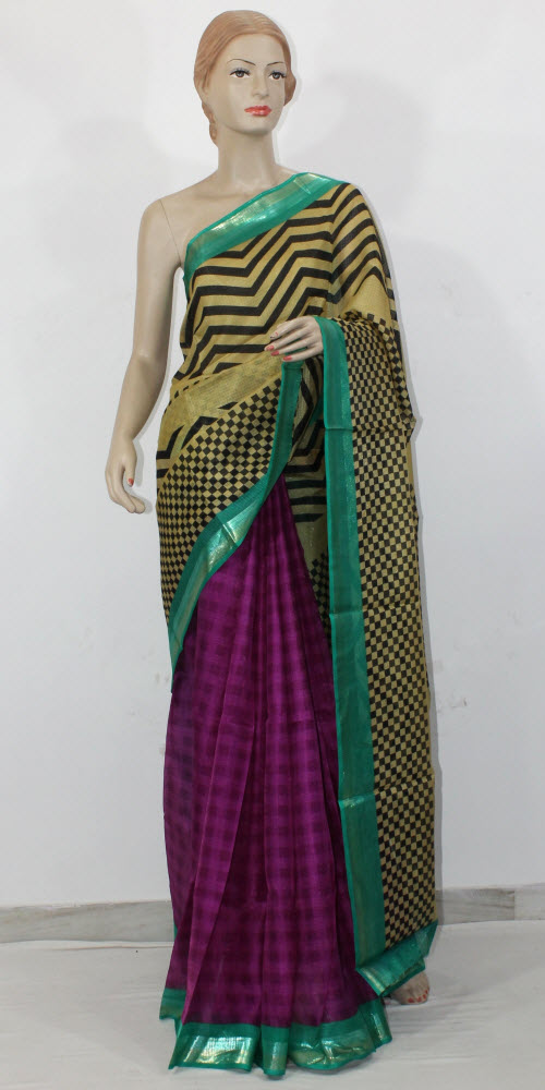 Exclusive Manipuri Check (Half-Half) Saree 11324