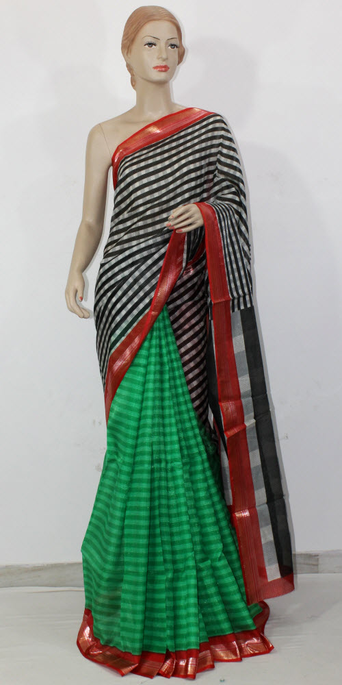 Exclusive Manipuri Check (Half-Half) Saree 11337