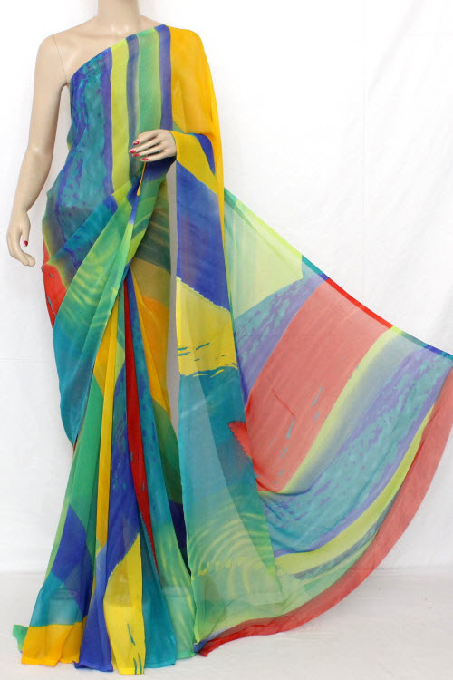 Multi-Colour Printed Fine Quality Georgette Saree (With Blouse) 11410