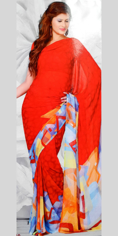 Digital Printed Faux Georgette Saree 11415