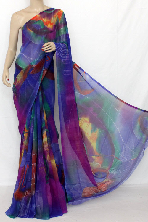 Multi-colour  Printed Fine Quality Georgette Saree (with Blouse) 11416