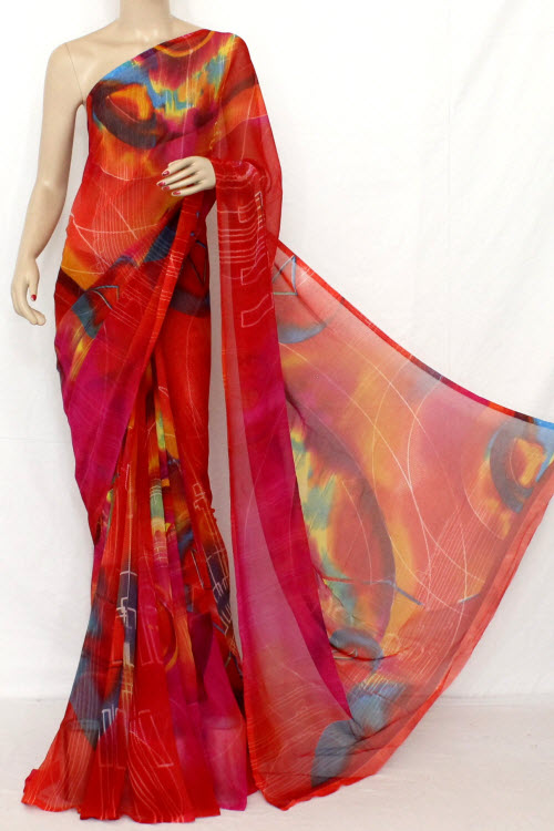 Red Colour Printed Fine Quality Georgette Saree (With Blouse) 11417