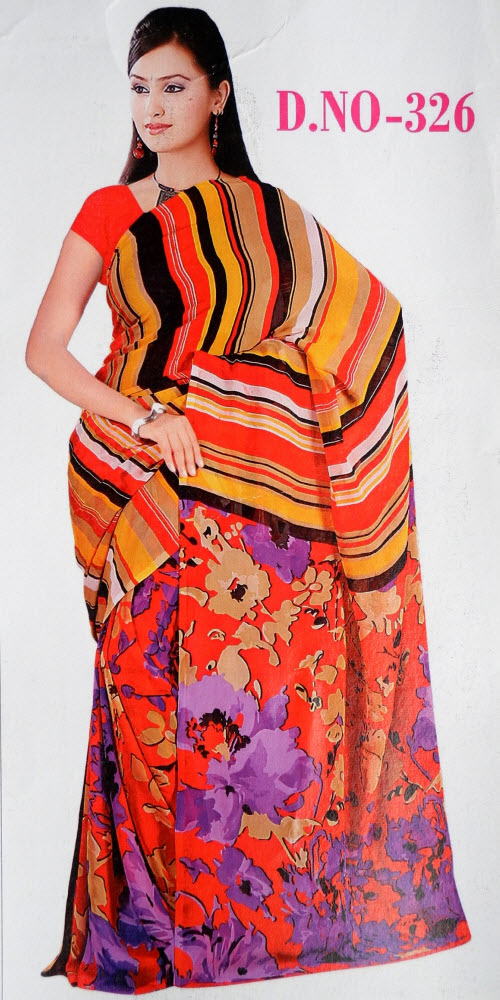 Digital Printed Faux Georgette Saree 11427