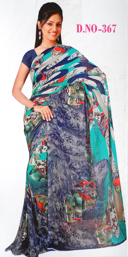 Digital Printed Faux Georgette Saree 11430