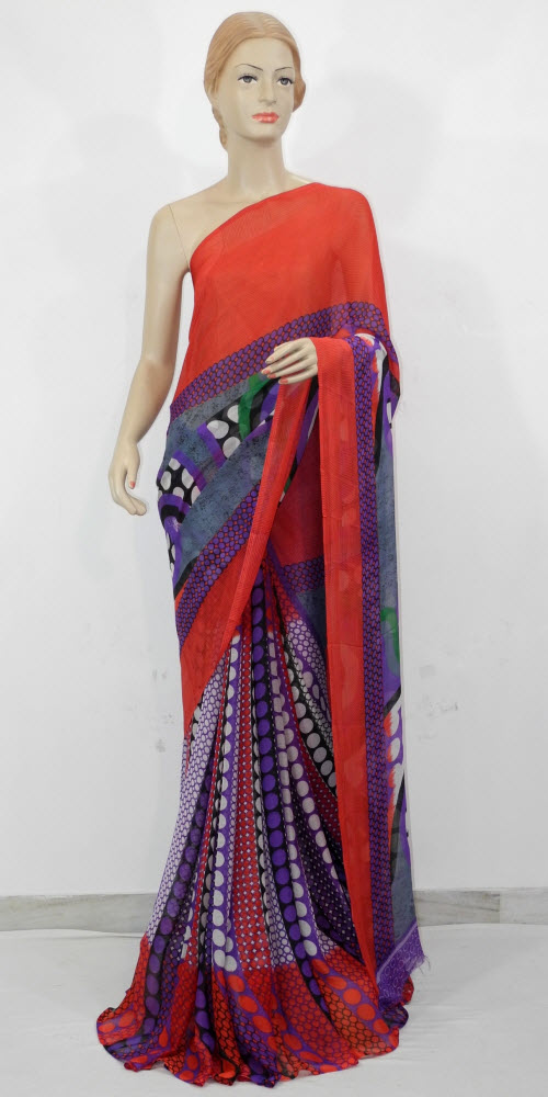 Semi Chiffon Printed Saree 11431