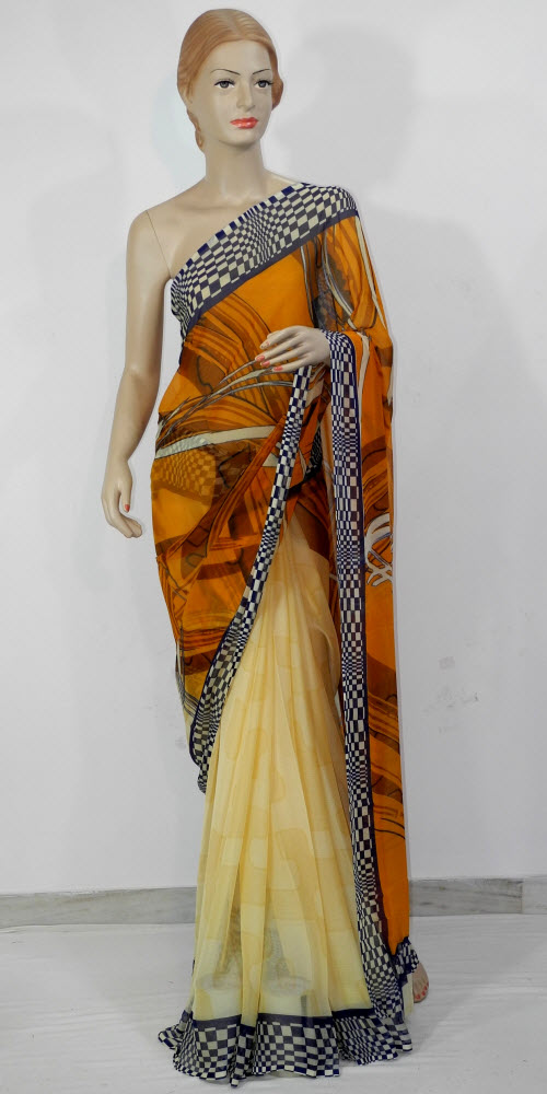 Semi Chiffon Printed Saree 11436