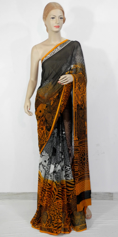 Semi Chiffon Printed Saree 11438