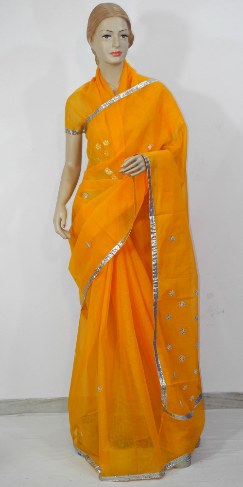 Traditional Kota Cotton Saree (Gota Booti) 11458