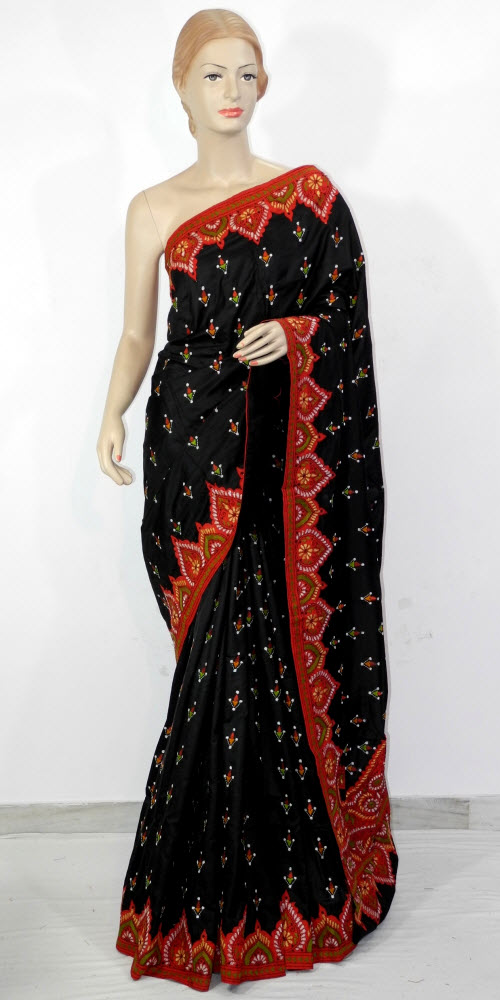 Embroidered Dupion Silk Saree 11648