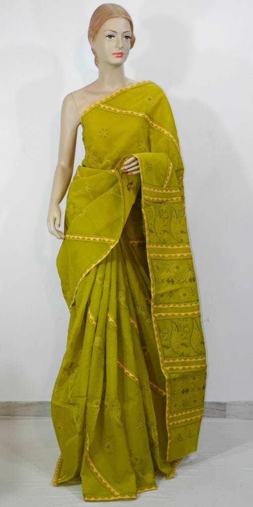 Lucknowi Chikan Saree (W/B-Cotton) 11670