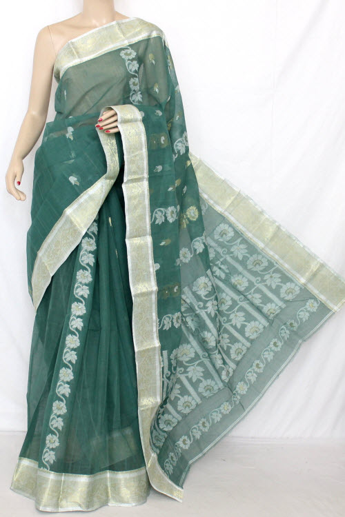 Green Handwoven Bengal Tant Cotton Saree (Without Blouse) 11795