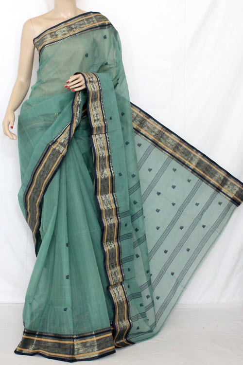 Green Handwoven Bengal Tant Cotton Saree (Without Blouse) 11807