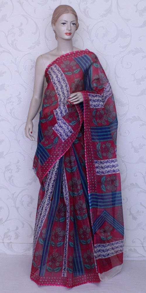 Real JP Kota Doria Printed Cotton Saree 11921