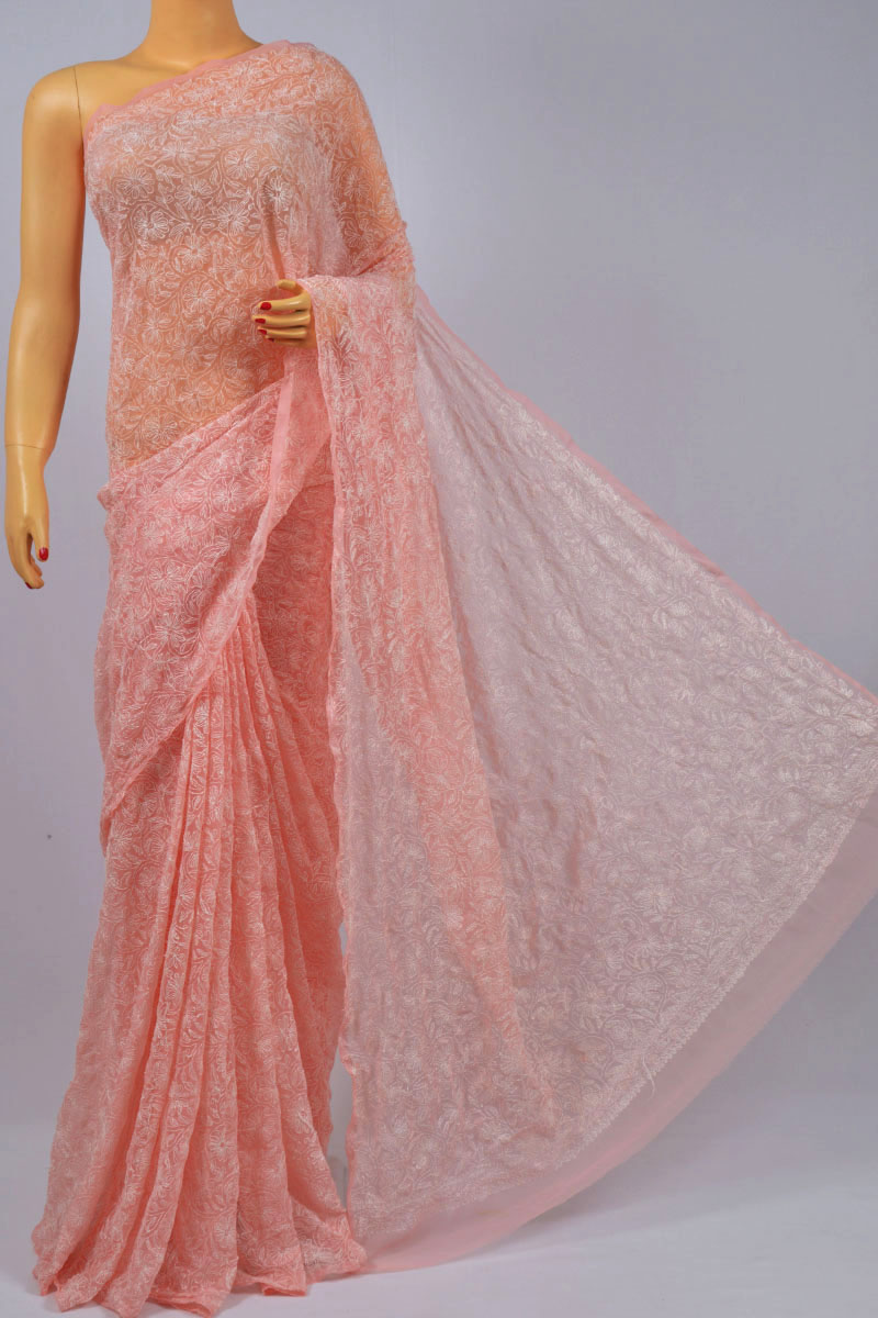 Peach Color Allover Tepchi Work Hand Embroidered Lucknowi Chikankari Saree (With Blouse - Georgette) SS250195