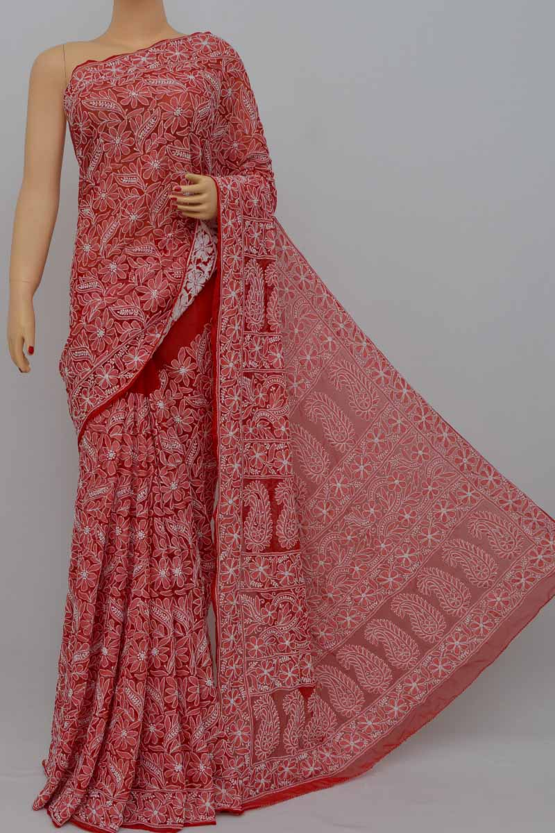 Red Color Allover Heavy Palla Hand Embroidered Lucknowi Chikankari Saree (with Blouse - Georgette) Hs250413