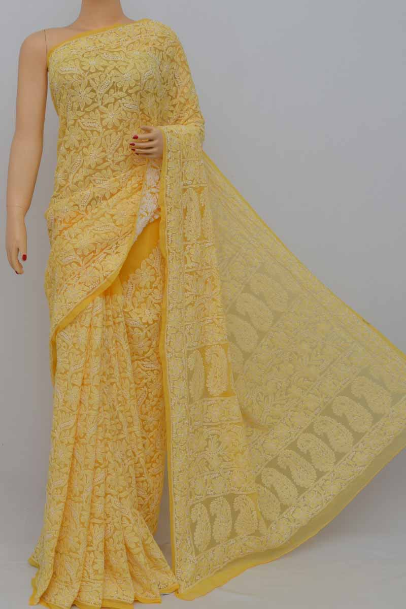 Yellow Allover Heavy Palla Hand Embroidered Lucknowi Chikankari Saree (With Blouse - Georgette) MY250415