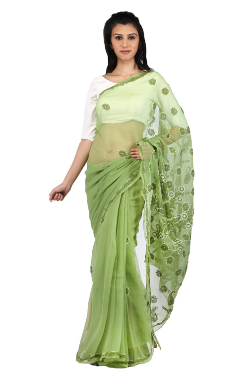 Chikan Georgette  Base Dark Pista Green Saree For Woman Saree with Blouse Piece  White And Dark Pista Green Threaded Lucknow Chikan Work