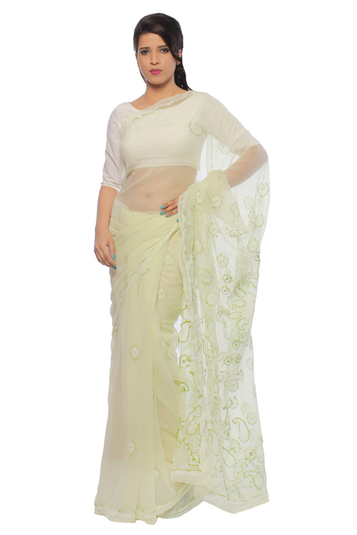 Chikan Georgette  Base Lemon Saree For Woman with Blouse Piece White And Green Threaded Lucknow Chikan Work