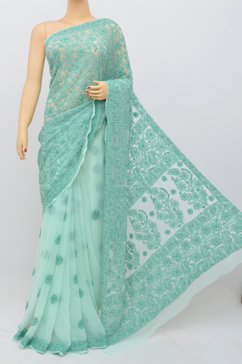 Cadetblue Color Hand Embroidered Half Jaal Lucknowi Chikankari Saree (with Blouse - Georgette) Kc250544