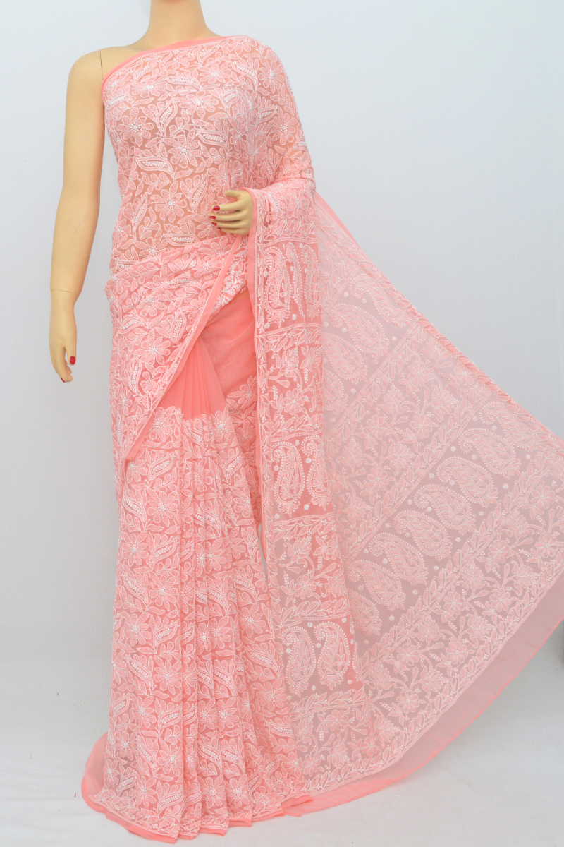 Rose Color Allover Hand Embroidered Lucknowi Chikankari Saree (With Blouse - Georgette) SM250546