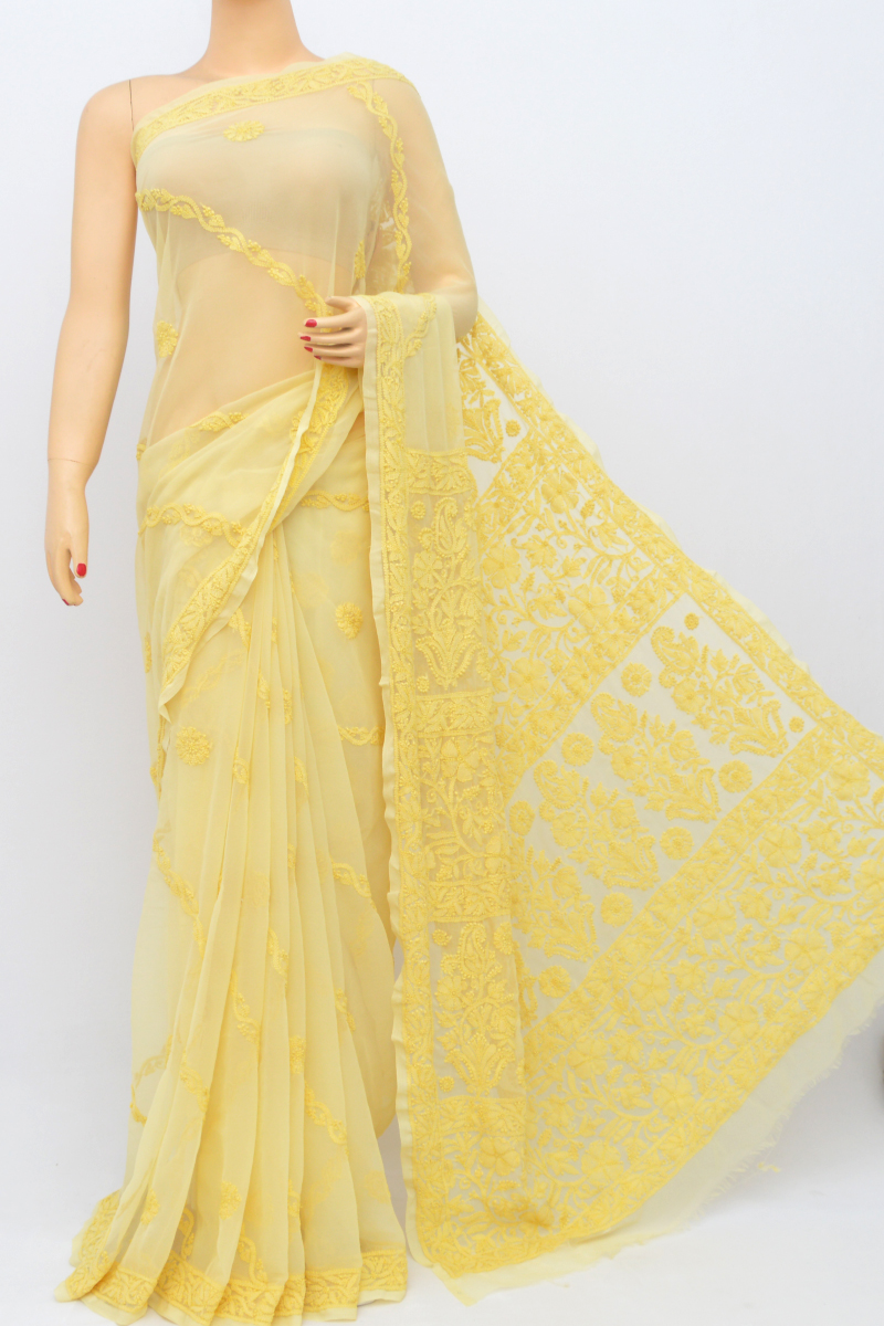 Yellow Color Work Hand Embroidered Full Chadhi Work Lucknowi Chikankari Saree (With Blouse - Georgette) HS250547