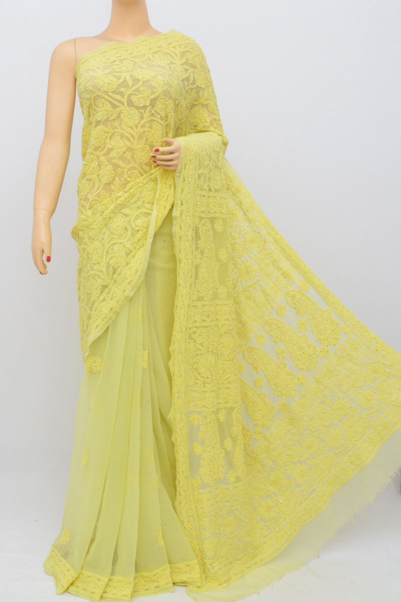Lime Color Hand Embroidered Work Lucknowi Chikankari Saree With Mukesh Work (With Blouse - Georgette) MY250548