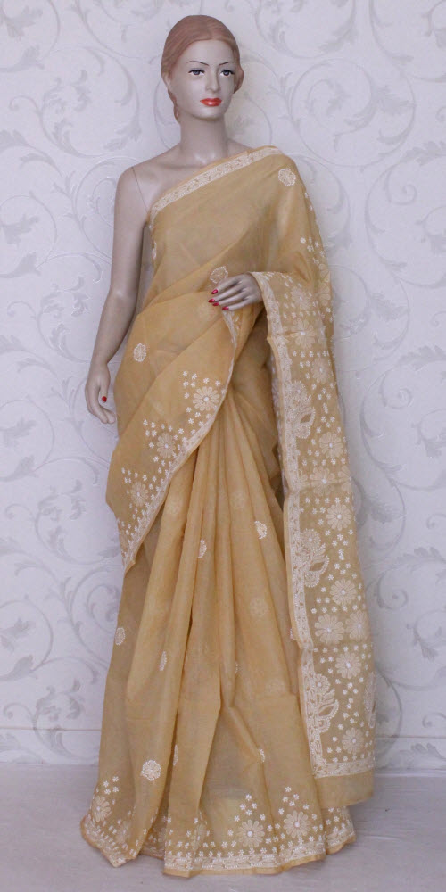 Lucknowi Chikan Saree (W/B-Cotton) 12341