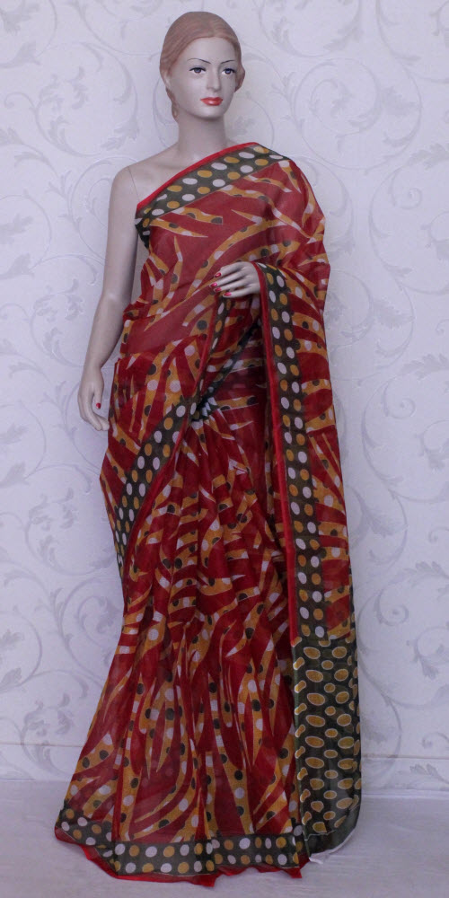 Real JP Kota Doria Printed Cotton Saree 12432