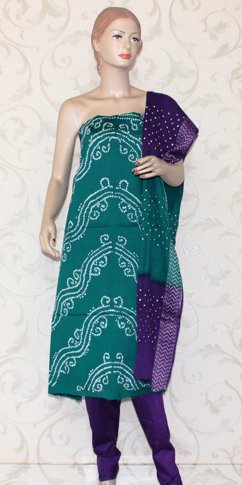 Bandhani (Tie & Die) Un-Stitched Pure Cotton Suit 12518
