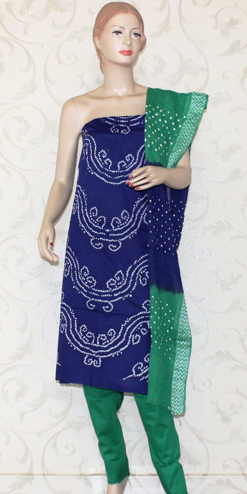 Bandhani (Tie & Die) Un-Stitched Pure Cotton Suit 12521