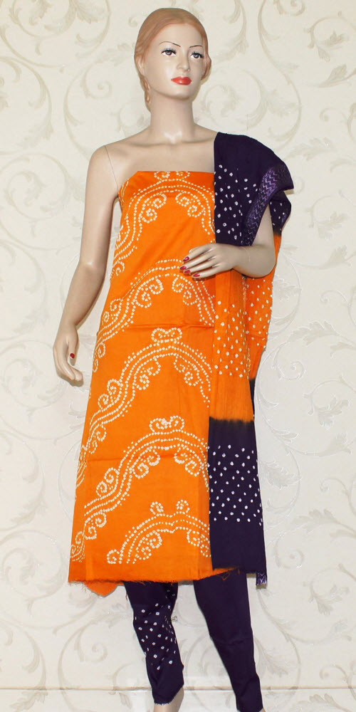 Bandhani (Tie & Die) Un-Stitched Pure Cotton Suit 12522
