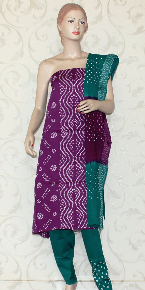 Bandhani (Tie & Die) Un-Stitched Pure Cotton Suit 12526