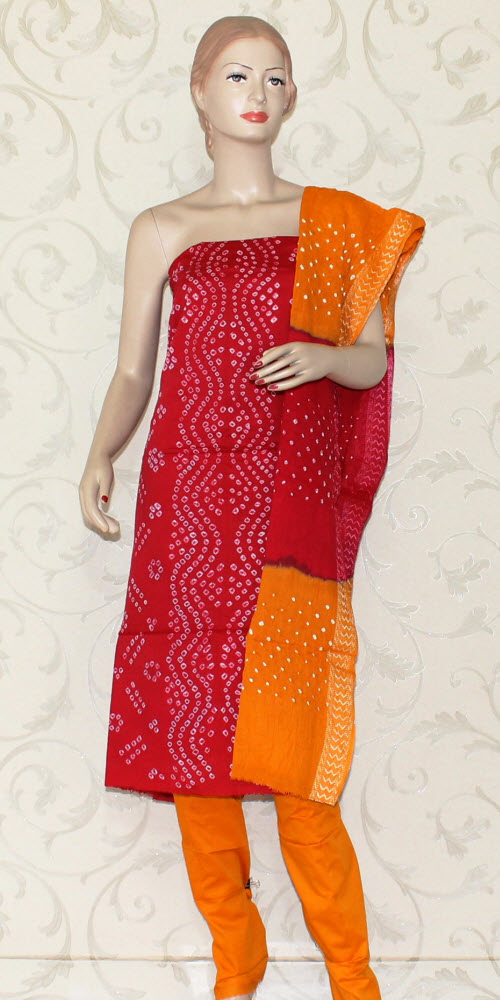 Bandhani (Tie & Die) Un-Stitched Pure Cotton Suit 12529