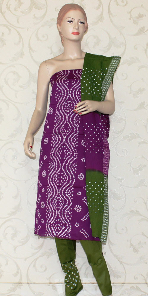 Bandhani (Tie & Die) Un-Stitched Pure Cotton Suit 12530