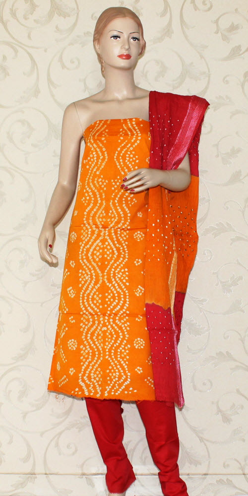 Bandhani (Tie & Die) Un-Stitched Pure Cotton Suit 12531