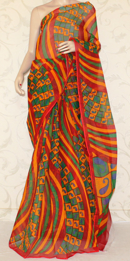 JP Kota Doria Printed Cotton Saree 12551