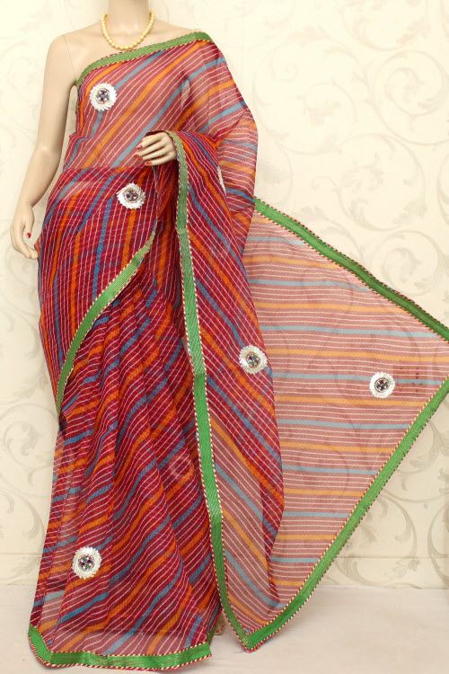 Traditional Kota Cotton Saree (Gota Patti - With Blouse) 12587
