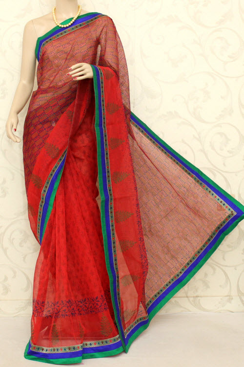 Block Printed Cot-silk Supernet Kota Saree (without Blouse) 12596