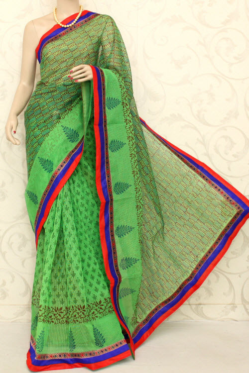 Block Printed Cot-silk Supernet Kota Saree (with Blouse) 12598