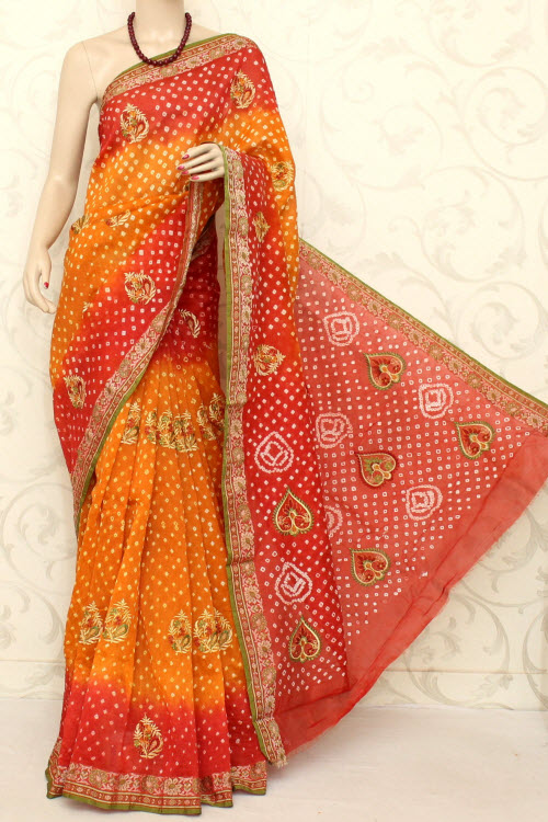 Designer Bandhani (tie-n-die) Embroidered Art Silk Saree (with Blouse ) 12600