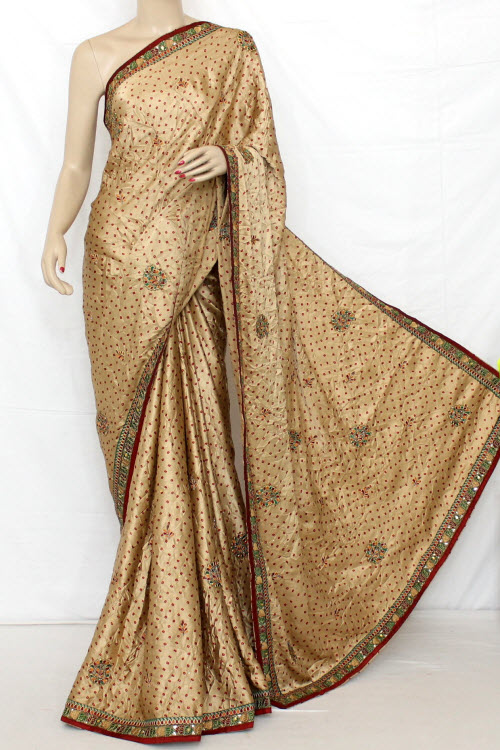 Exclusive Bandhani Style (Tie-n-Die) Satin Saree (With Blouse ) 12606
