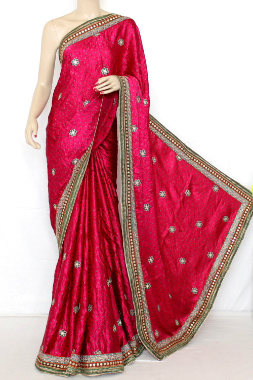 Exclusive Bandhani Style (tie-n-die) Satin Saree (with Blouse ) 12607