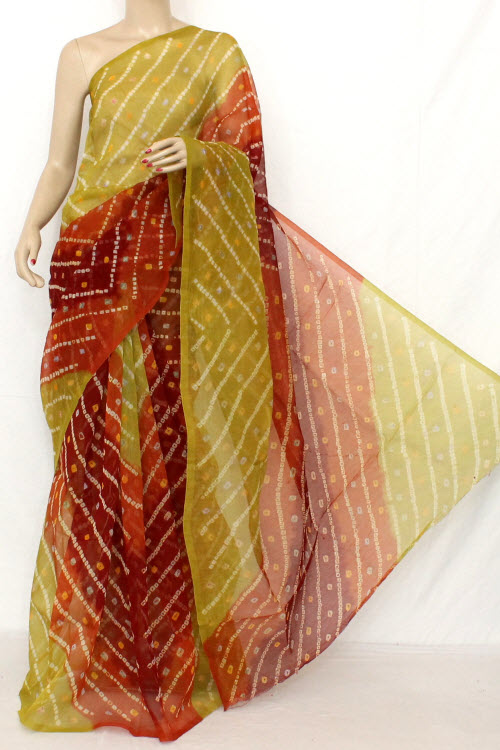 Traditional Bandhani (Tie-n-Die) Cot-Silk Supernet Saree (Without Blouse ) 12610
