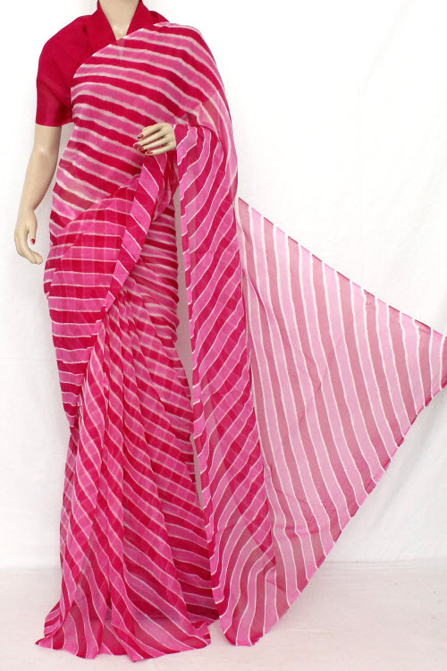 Traditional Bandhani (Tie-n-Die) Semi - Chiffon Saree (With Blouse ) 12620
