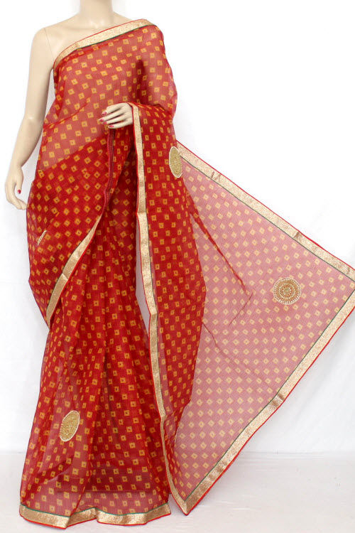 Red Hand Woven Traditional Kota Saree (With Blouse - Cotton) 12629